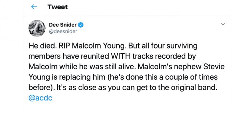 Dee Snider's Tweet