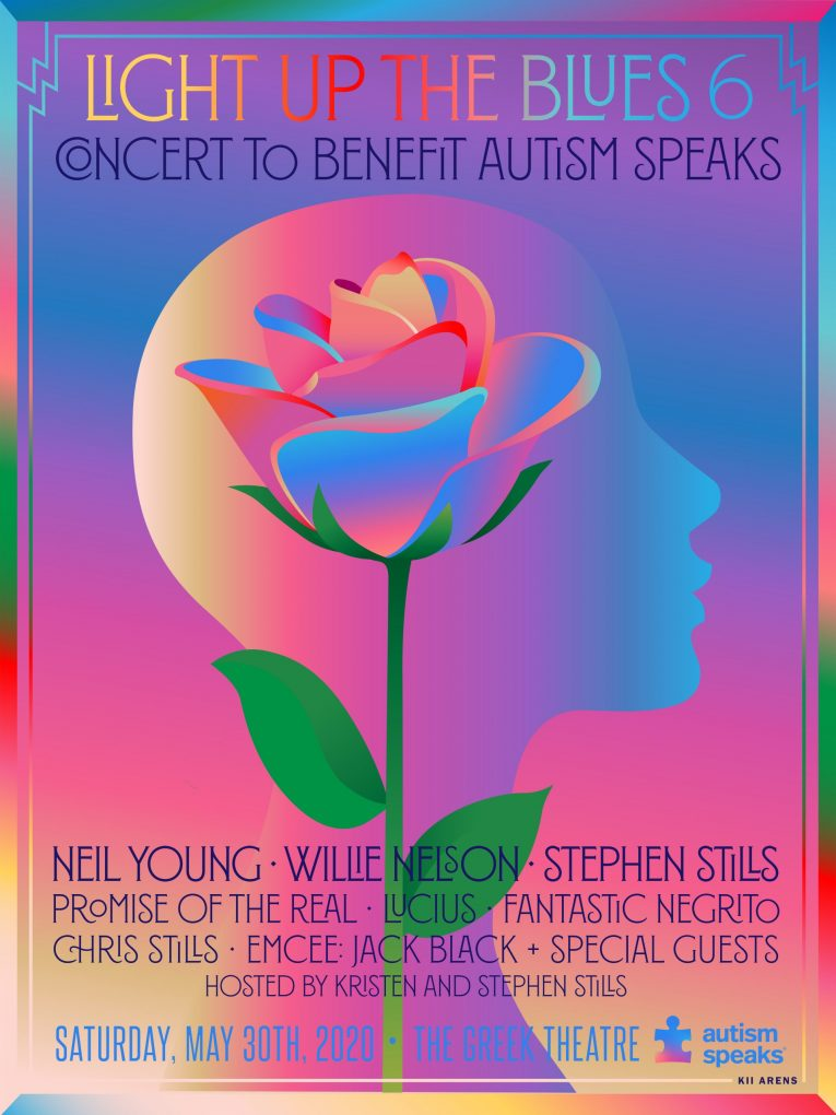 Light Up The Blues 6 Concert to Benefit Autism Speaks, Neil Young, Willie Nelson, Stephen Stills, The Greek Theater, May 30, Rock and Blues Muse
