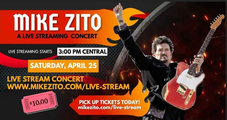 Mike Zito, live streaming blues concert announcement, April 25th, Rock and Blues Muse