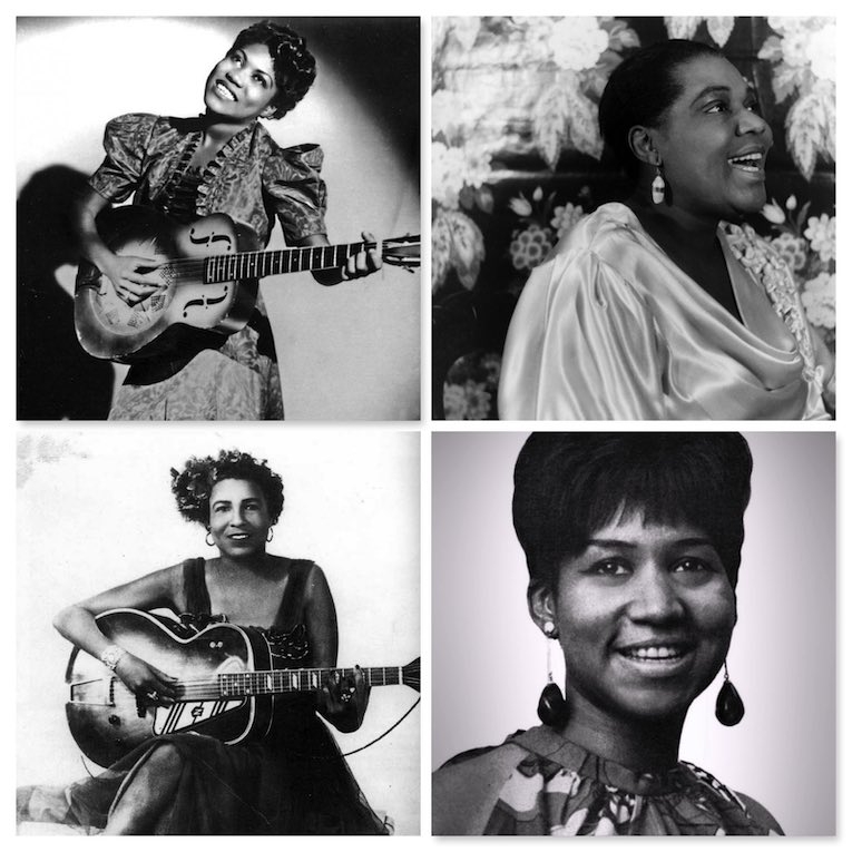Women Who Shaped The Blues, featuring Bessie Smith, Ma Rainey, Memphis Minnie, Sister Rosetta Tharpe, Billie Holiday, Etta James, Aretha Franklin, Ella Fitzgerald, Big Mama Thornton, Ruth Brown, Chris Wheatley, Rock and Blues Muse