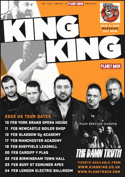 King King February 2022 UK Tour with special guests The Damn Truth poster