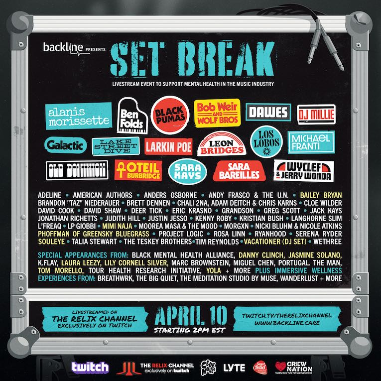 Backline Announces 'Set Break' Livestream Event April 10 To Support Mental Health in Music Industry flyer